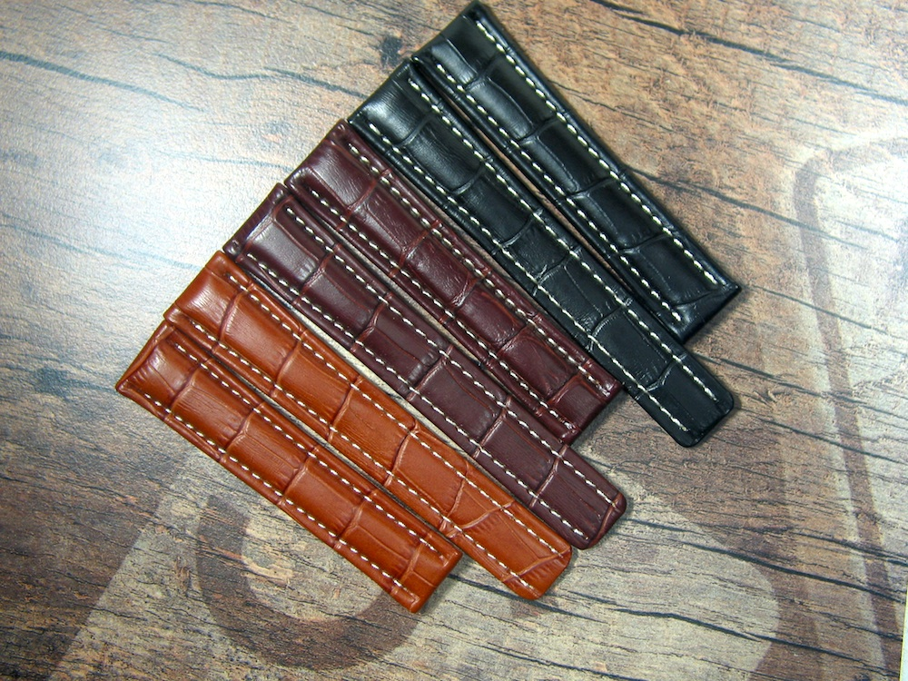 Breitling gator printed Calf Leather Straps for old Clasp