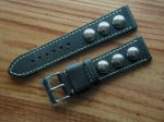 Rivet Strap by Jürgens Germany 22/20 mm black No86